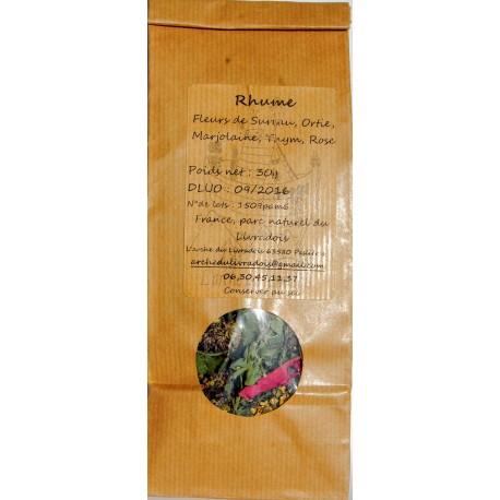 Rhume Infusion Naturel 30g, Tisane Rose Thym Marjolaine Ortie Fleur de Sureau