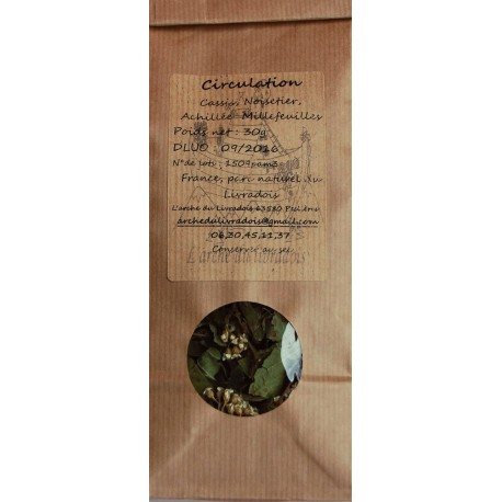 Circulation Infusion Naturel 30g, Tisane: Achillée millefeuille, Cassis, Noisetier